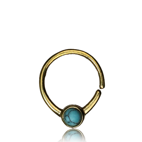 Deetya Septum Ring - Turquoise - Brass - Ekeko Crafts
