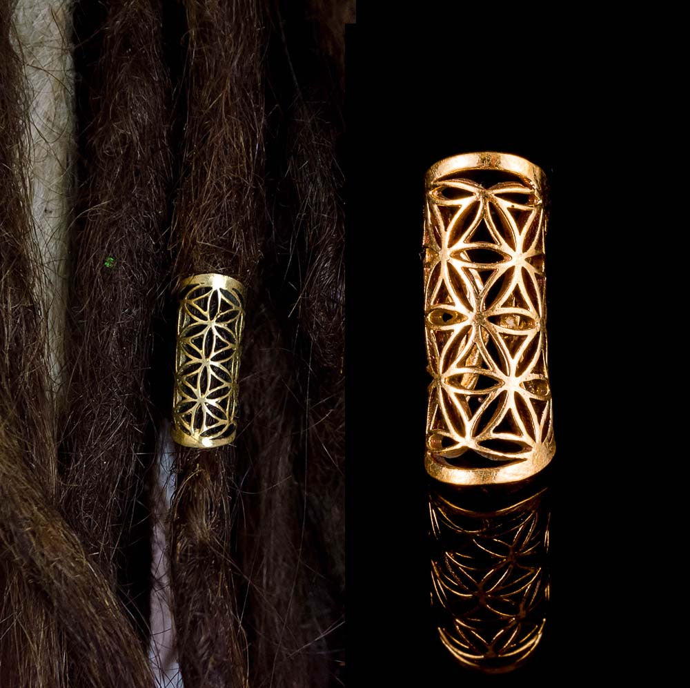 flower of life dread beads, brass dreadlock decoration, rasta hair jewelry, sacred geometry