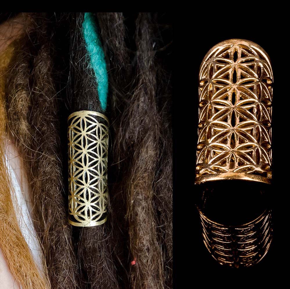 Flower of Life dread bead, brass rasta dread lock decoration, dreadlocks accesories