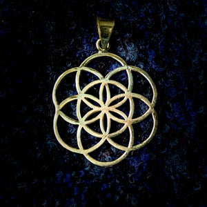 Seed of Life Pendant - Brass - Ekeko Crafts