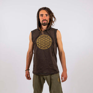Hooded Singlet - Flower of Life Print - Ekeko Crafts