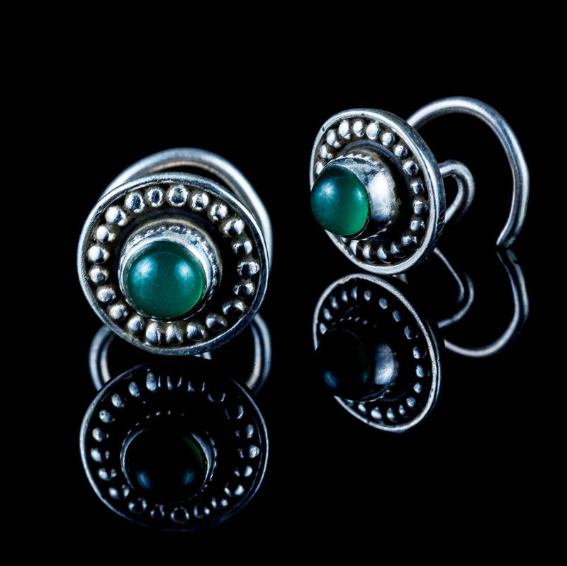 Durga Nose Stud - Green Aventurine - Ekeko Crafts