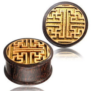 Geometric Maze Ear Tunnels - Wood - Ekeko Crafts