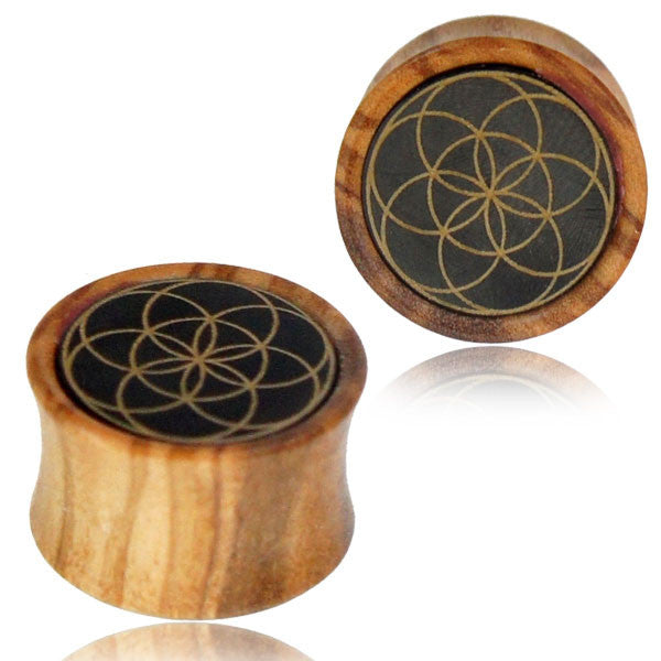 SEED OF LIFE EAR TUNNELS, tribal wooden gauge earrings
