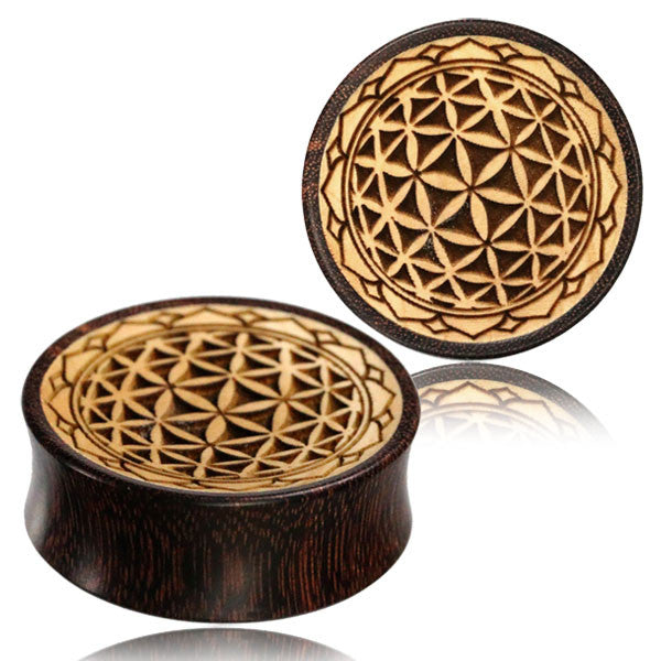 Flower of Life Concave Wood Ear Plugs - Ekeko Crafts