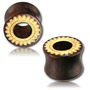 Gold Hollow Wood Ear Tunnels - Ekeko Crafts