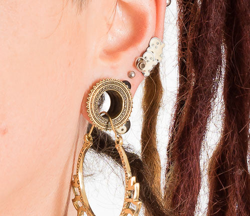 Surya Brass Ear Tunnel - Ekeko Crafts