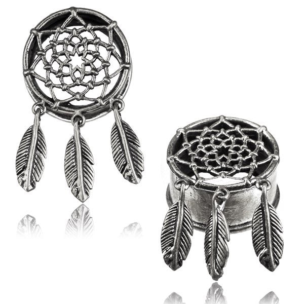 Dreamcatcher Ear Tunnels - White Brass - Ekeko Crafts