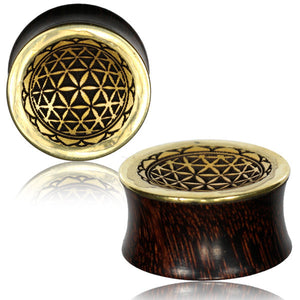 Gold Flower of Life Wooden Gauges - Ekeko Crafts