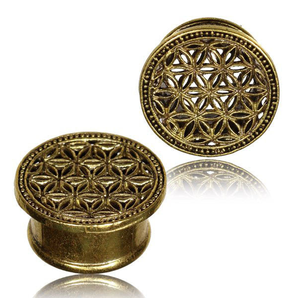 Flower of Life Ear Tunnel - Brass - Ekeko Crafts