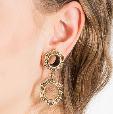 Mandala Dangle Ear Plugs - Brass - Ekeko Crafts