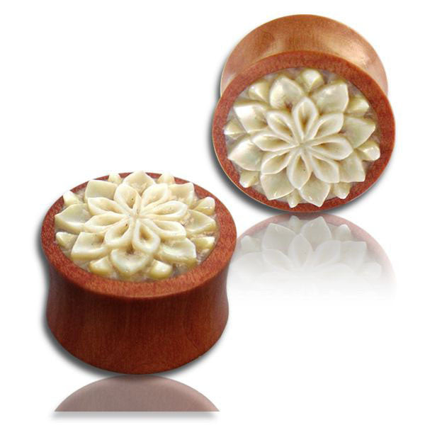 Shell Mandala Wood Ear Plugs - Ekeko Crafts