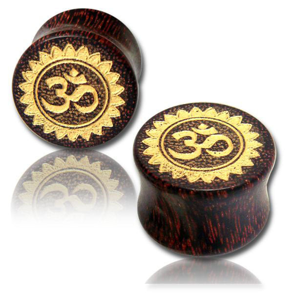 OM EAR TUNNELS, WOOD EAR PLUGS, BOHO HIPPY GAUGE EARRINGS