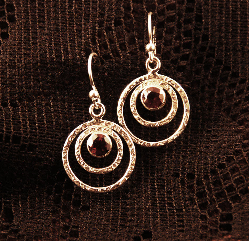silver earrings with garnet, gift for her