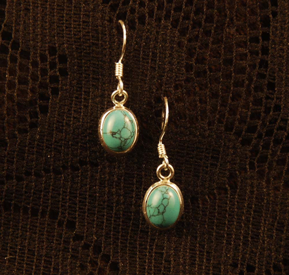 blue turquoise gemstone inlay, dangle earrings, silver