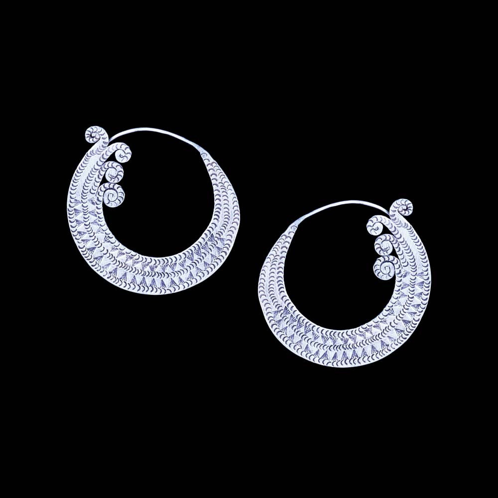 Large Tribal Hoop Silver Earrings - Ekeko Crafts
