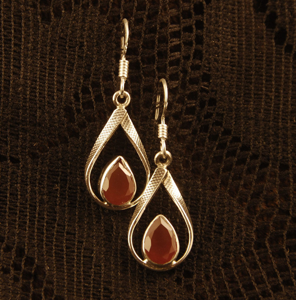 Teardrop Silver Earrings with Gemstone - Ekeko Crafts