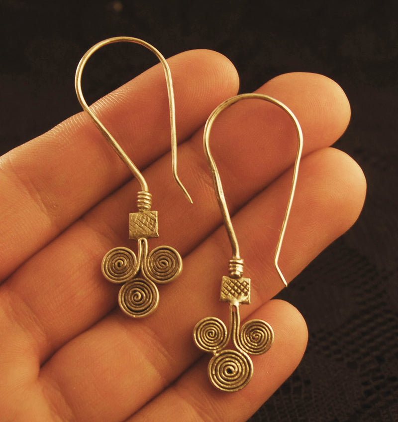 triple spiral silver drop earrings, wiccan jewellery