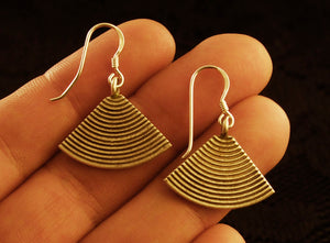 Ethnic Style Fan Drop Earrings - Silver - Ekeko Crafts