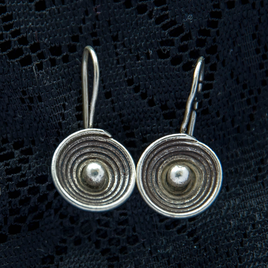 Tribal Spiral Earrings - Silver - Ekeko Crafts