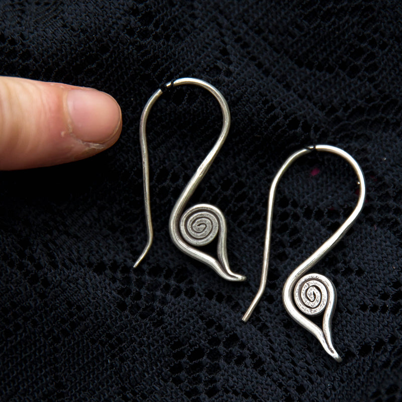 Bird Drop Earrings - Silver - Ekeko Crafts
