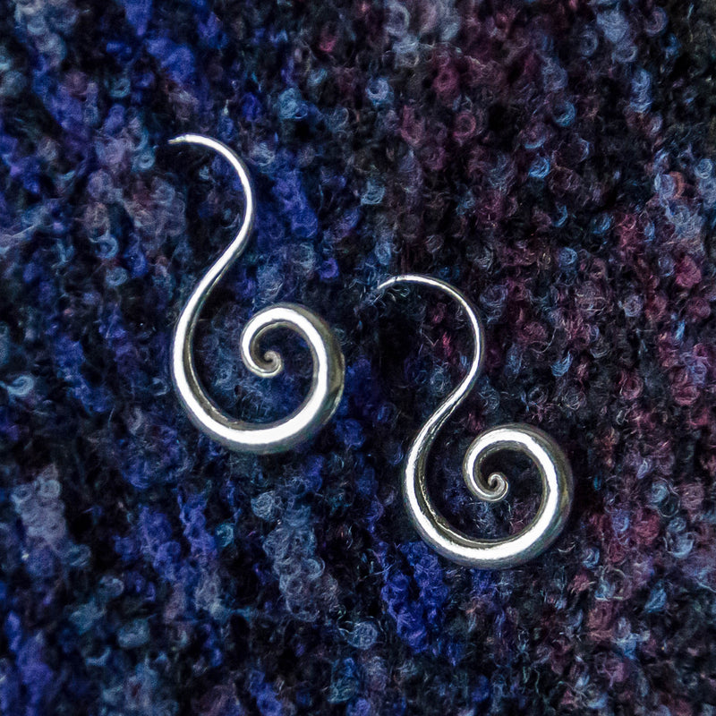 Spiral Dangle Earrings - Silver - Ekeko Crafts