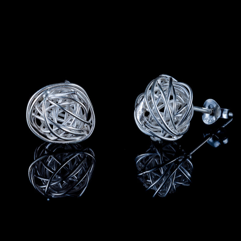 Nest Silver Stud Earrings - Ekeko Crafts