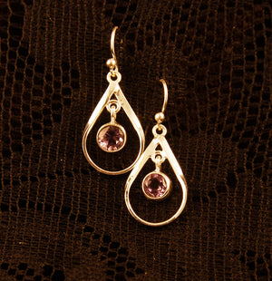 Teardrop Drop Earrings - Silver - Gemstones - Ekeko Crafts