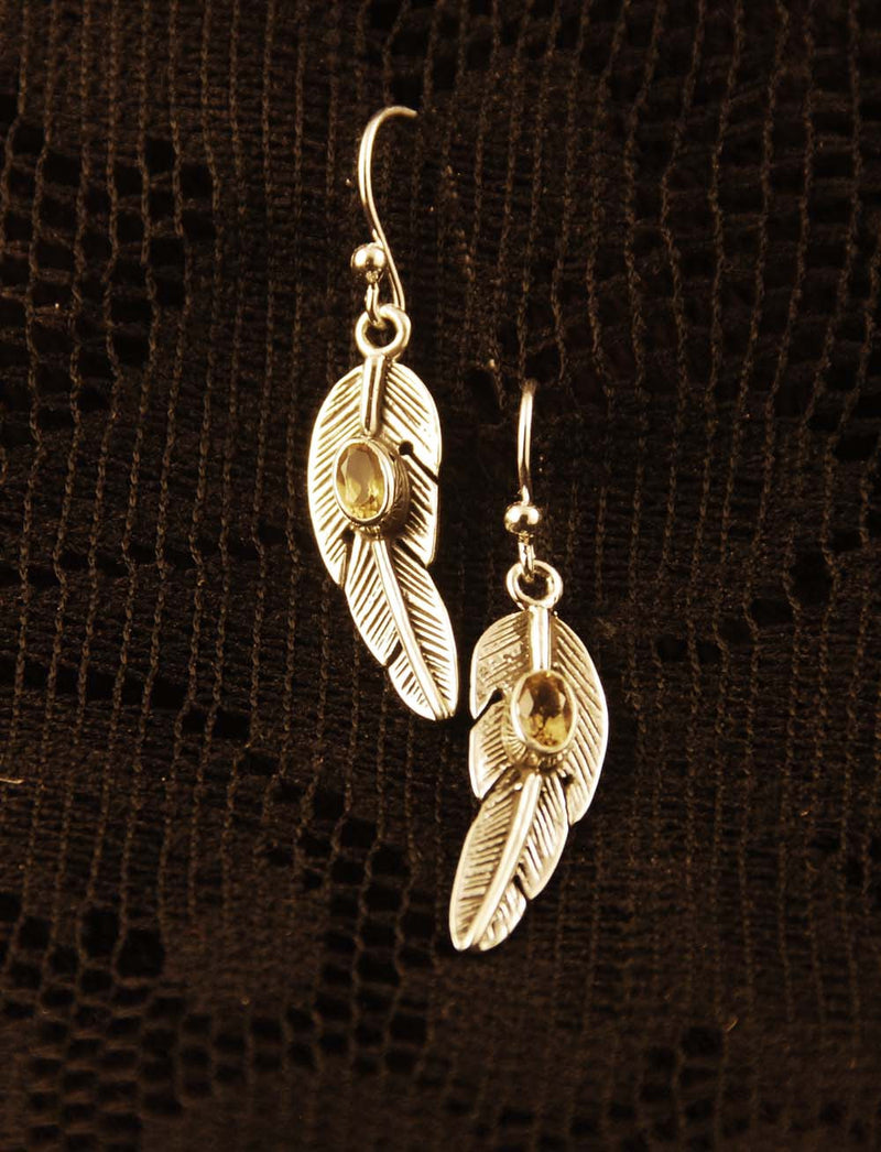Citrine Feather earrings, silver jewelry