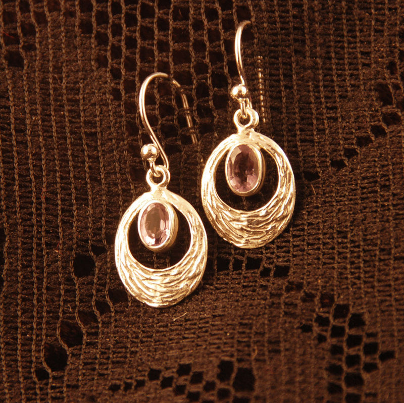 Textured Silver Earrings with Gemstone - Ekeko Crafts
