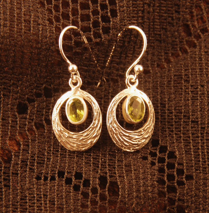 silver earrings with green peridot, gift for her