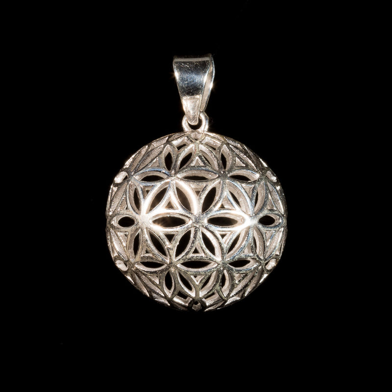 Flower of Life Globe Pendant - Silver - Ekeko Crafts