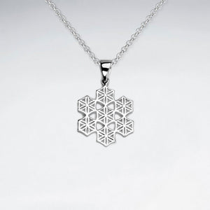Flower of Life Snowflake Pendant - Silver - Ekeko Crafts