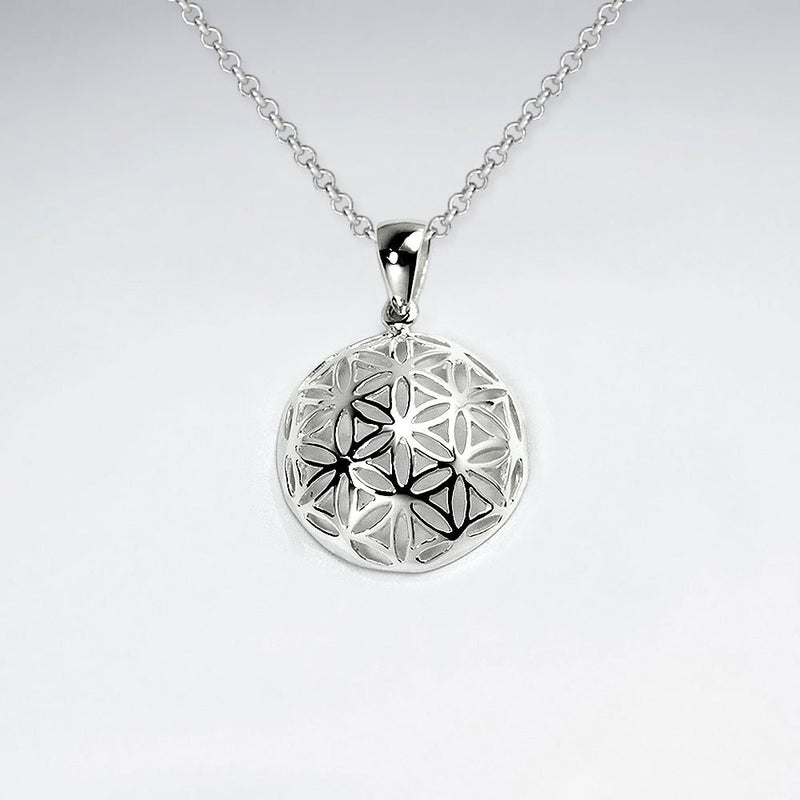 Flower of life Dome Pendant - Silver - Ekeko Crafts