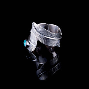 Feather Ring - Silver - Turquoise - Ekeko Crafts