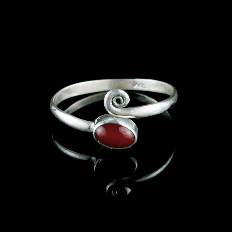 Red Midi Ring - Silver - Ekeko Crafts