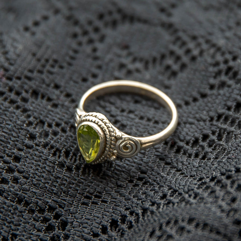 Anand Ring -Silver - Green Peridot - Ekeko Crafts