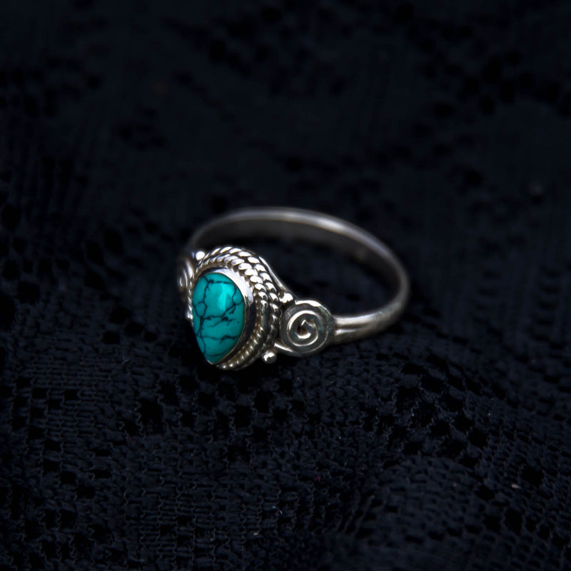 Anand Ring - Silver - Turquoise - Ekeko Crafts