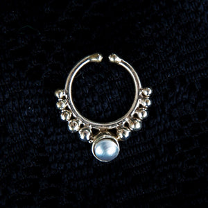 Sati Faux Septum Ring - Pearl - Ekeko Crafts