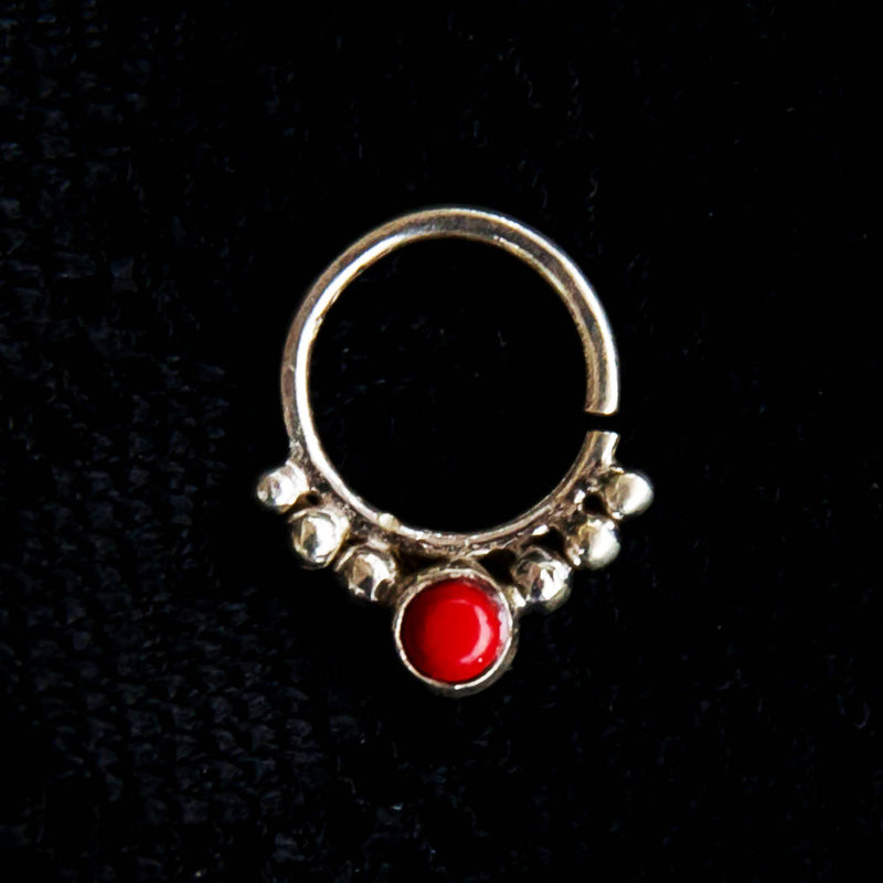 Agni Septum Ring - Silver - Red Coral - Ekeko Crafts