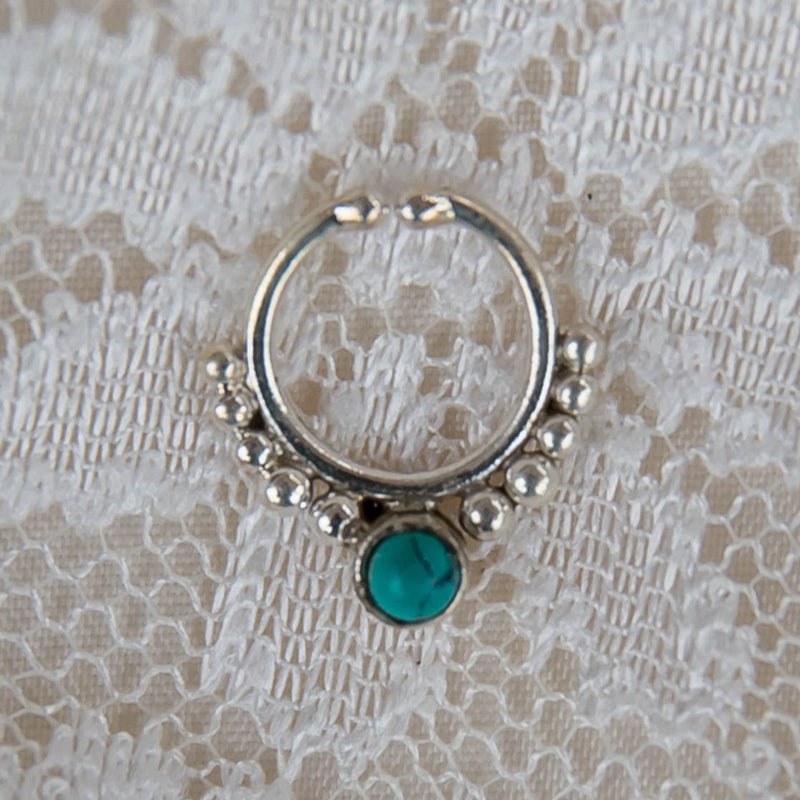 Arjuna Faux Septum Ring - Silver - Turquoise - Ekeko Crafts