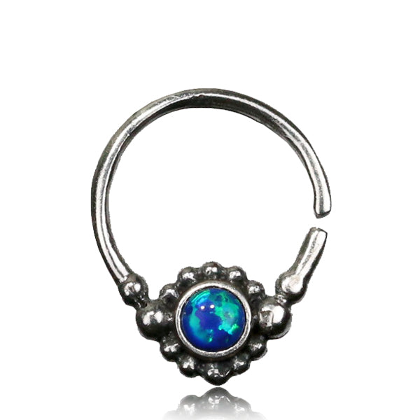 Shining Seeta Septum Ring -Silver - Blue Opal - Ekeko Crafts