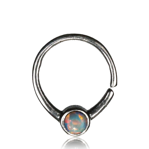 Seeta Septum Ring -Silver - White Opal - Ekeko Crafts