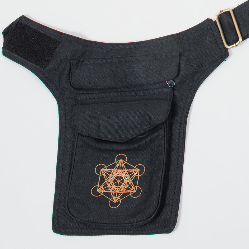 Metatrons Cube Double Pocket Belt - Ekeko Crafts