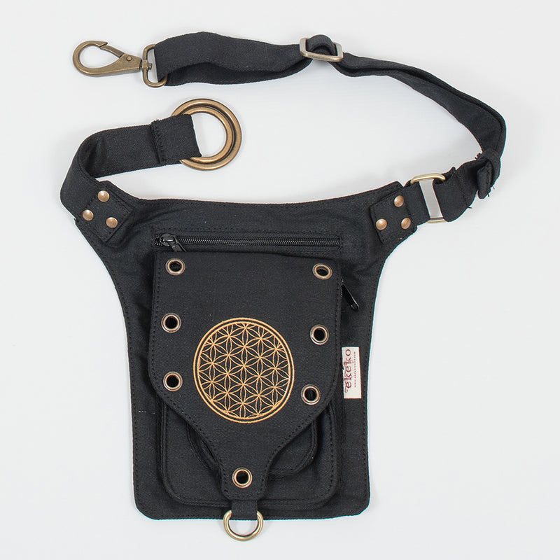 Flower of Life Single Pocket Belt - Ekeko Crafts