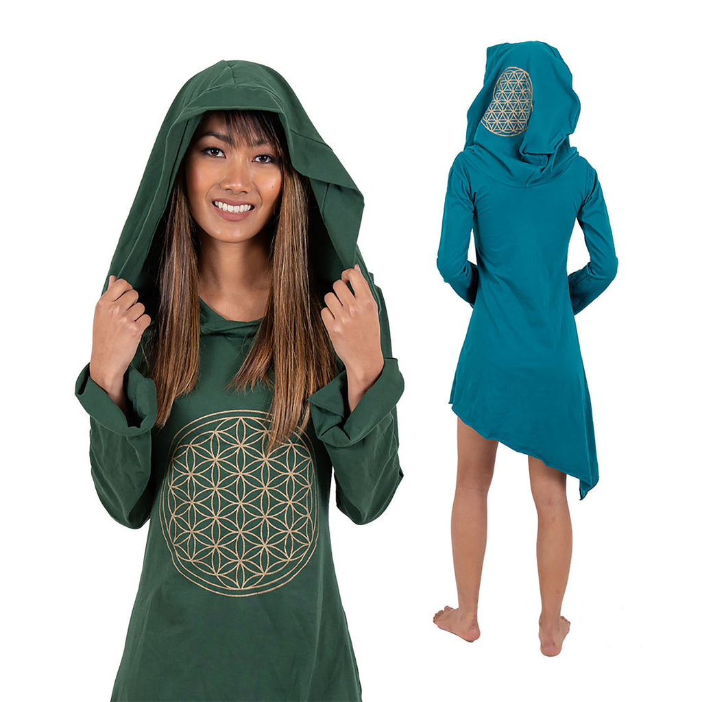 Hooded Winter Dress - Flower of Life Print - Ekeko Crafts