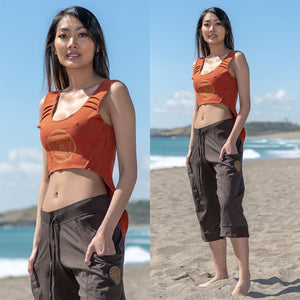 Hi-Low Yoga Top - Sri Yantra Print - Ekeko Crafts