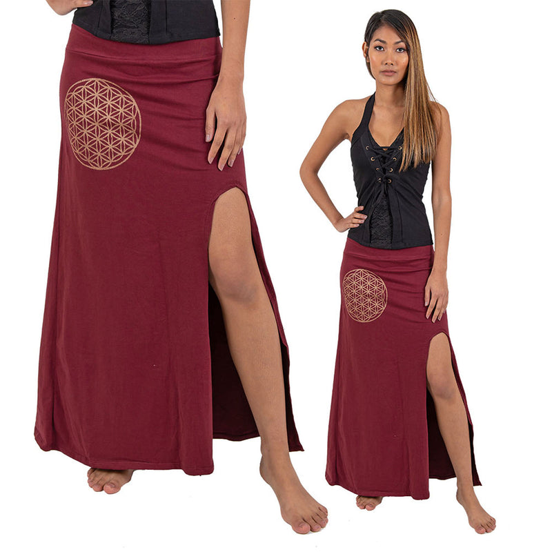 Flower of Life Maxi Slit Skirt - Ekeko Crafts