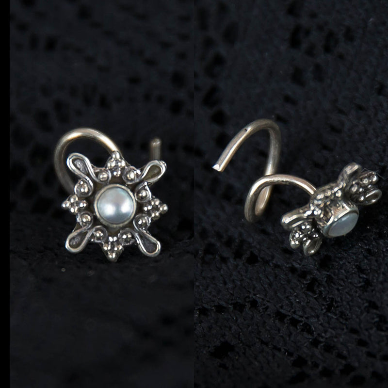 Tribal silver nose stud, large nose stud with pearl