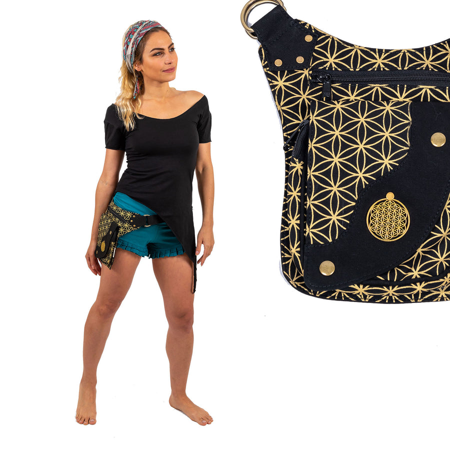 Flower of Life Hip Bag / Shoulder Bag - Ekeko Crafts